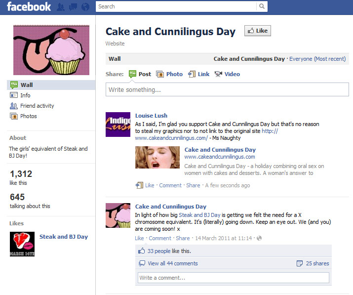 Facebook fake Cake and Cunnilingus page in 2011